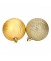 6 gouden kerstballen glitter en mat