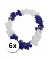 6 hawaiikransen blauw met wit 45 cm