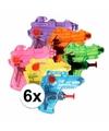6 mini waterpistolen in verschillende kleuren 7 cm