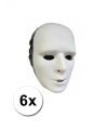 6 witte grimeer maskers van plastic