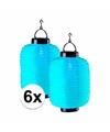 6x blauwe solar lampionnen 55 cm
