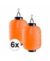 6x oranje solar lampionnen 55 cm