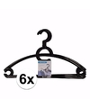 6x plastic kledinghangers zwart