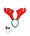 6x rendier diadeem rood met groen