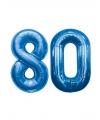 80 jaar folie ballonnen blauw