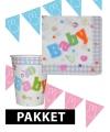Babyshower versiering pakket blauw roze