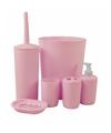 Badkamer en toiletset 6 delig roze
