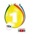 Ballonnen 1 jaar van 30 cm 16 stuks gratis sticker