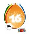 Ballonnen 16 jaar van 30 cm 16 stuks gratis sticker
