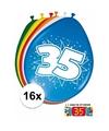 Ballonnen 35 jaar van 30 cm 16 stuks gratis sticker