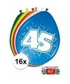 Ballonnen 45 jaar van 30 cm 16 stuks gratis sticker