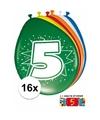 Ballonnen 5 jaar van 30 cm 16 stuks gratis sticker