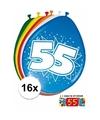 Ballonnen 55 jaar van 30 cm 16 stuks gratis sticker