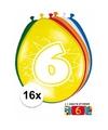Ballonnen 6 jaar van 30 cm 16 stuks gratis sticker
