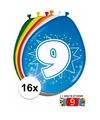 Ballonnen 9 jaar van 30 cm 16 stuks gratis sticker
