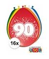 Ballonnen 90 jaar van 30 cm 16 stuks gratis sticker