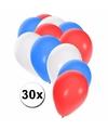 Ballonnen rood wit blauw 30 stuks