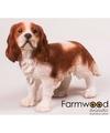 Beeld bruine king charles hond 43 cm