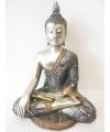 Beeld mediterende boeddha zilver 34 cm