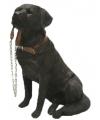 Beeldje bruine labrador hond met riem 18 cm