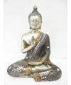 Beeldje mediterende boeddha zilver 17 cm