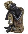 Beeldje slapende boeddha zwart goud 17 cm