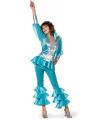 Blauw disco kostuum voor dames