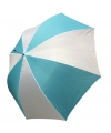 Blauw met witte paraplu met houten handvat