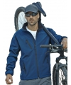 Blauw softshell jacket voor heren waterdicht