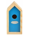 Blauw vogelhuisje 10 x 11 x 20 cm