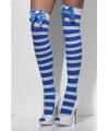 Blauw wit gestreepte kniekousen met strikje