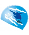 Blauwe badmuts voor kinderen met vissen