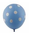 Blauwe ballonnen met witte stippen 30 cm 5st