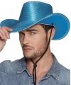 Blauwe cowboyhoed howdy pailletten voor volwassenen
