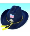Blauwe cowboyhoed met geel touw