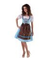 Blauwe dirndl jurk met bruin schort
