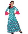 Blauwe flamenco jurk voor meiden