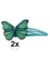 Blauwe haarspeldjes houten vlinder