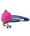 Blauwe haarspeldjes met roze roos