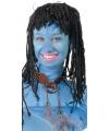 Blauwe jungle strijder pruik voor dames