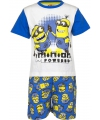 Blauwe minion powered korte pyjama jongens
