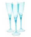 Blauwe plastic champagne glazen 5 stuks