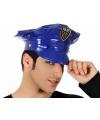 Blauwe plastic politie pet