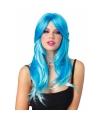 Blauwe pruik tweekleurig met golvend haar