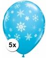 Blauwe sneeuwvlok ballonnen 5x