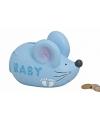 Blauwe spaarpot muis voor baby jongens