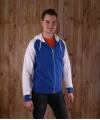 Blauwe sweater met capuchon en rits