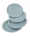Blauwe wegwerp bordjes met witte stippen 8x