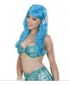 Blauwe zeemeermin damespruik met schelpen