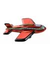 Blikken vliegtuigje donkerrood 11 cm